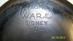 No8 Wagner skillet deep with glass lid logo