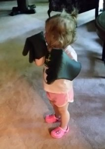 Olivia trying out my new BBQ hi-temp gloves